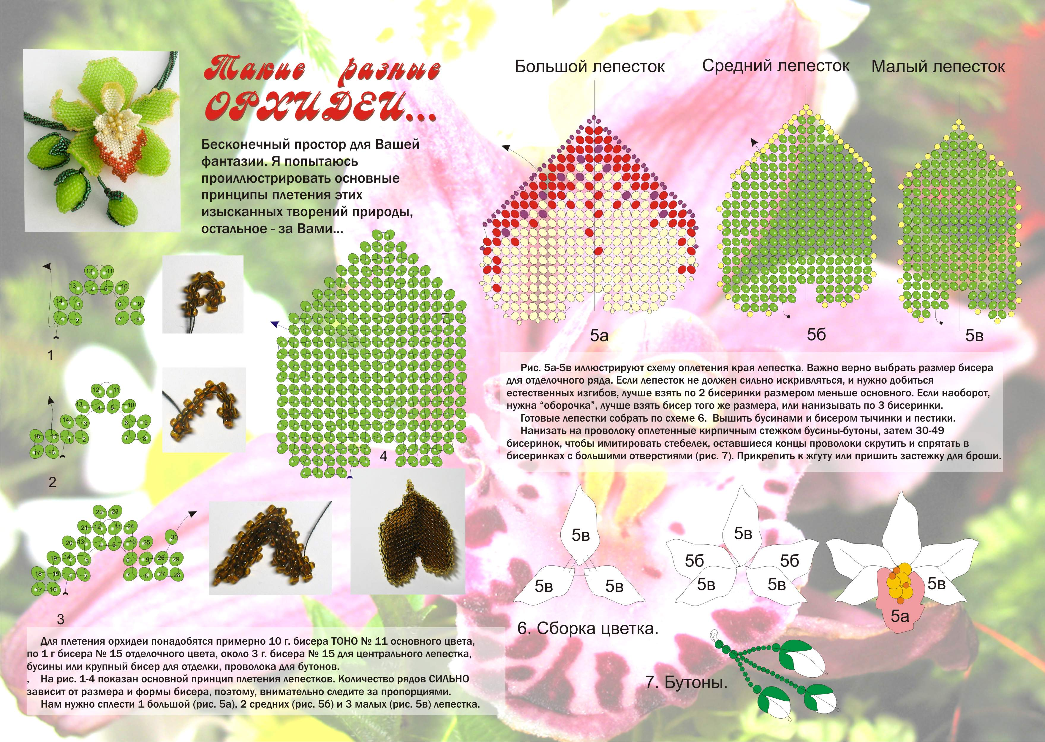 Схема больших орхидей из бисера Бисероплетение.